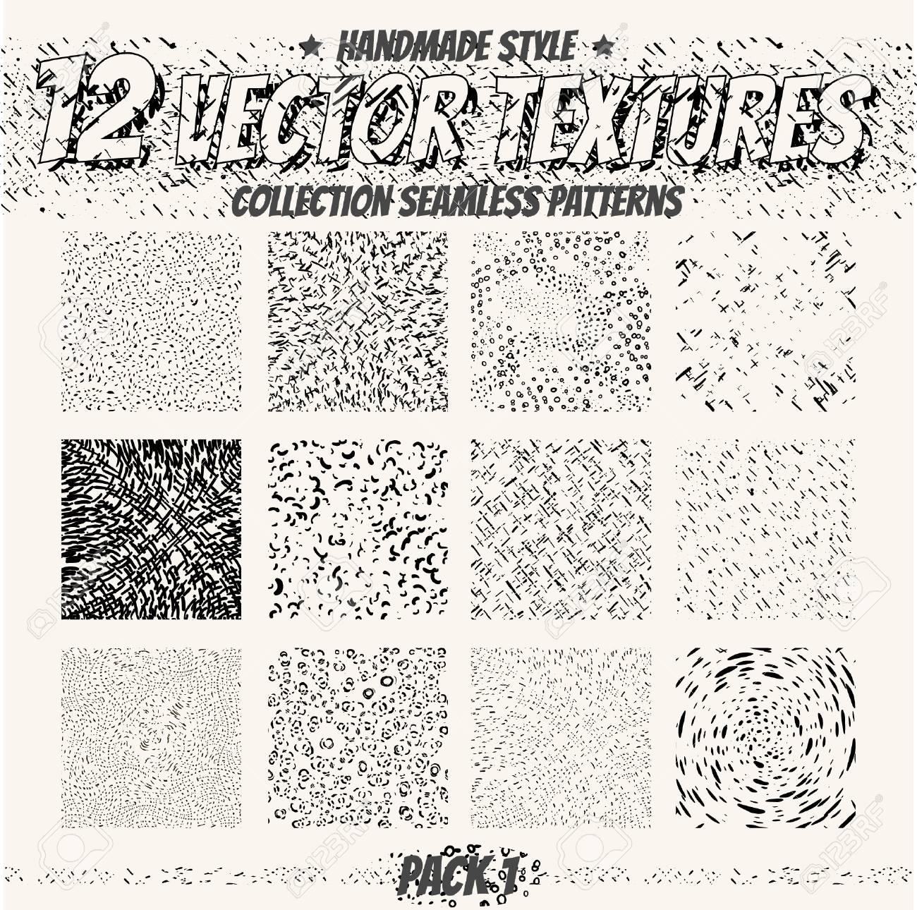 Colección de texturas sin costura monocromáticas para el diseño digital.  Patrones de vectores para web, textil, tela y otros. Dibujar a mano los ...