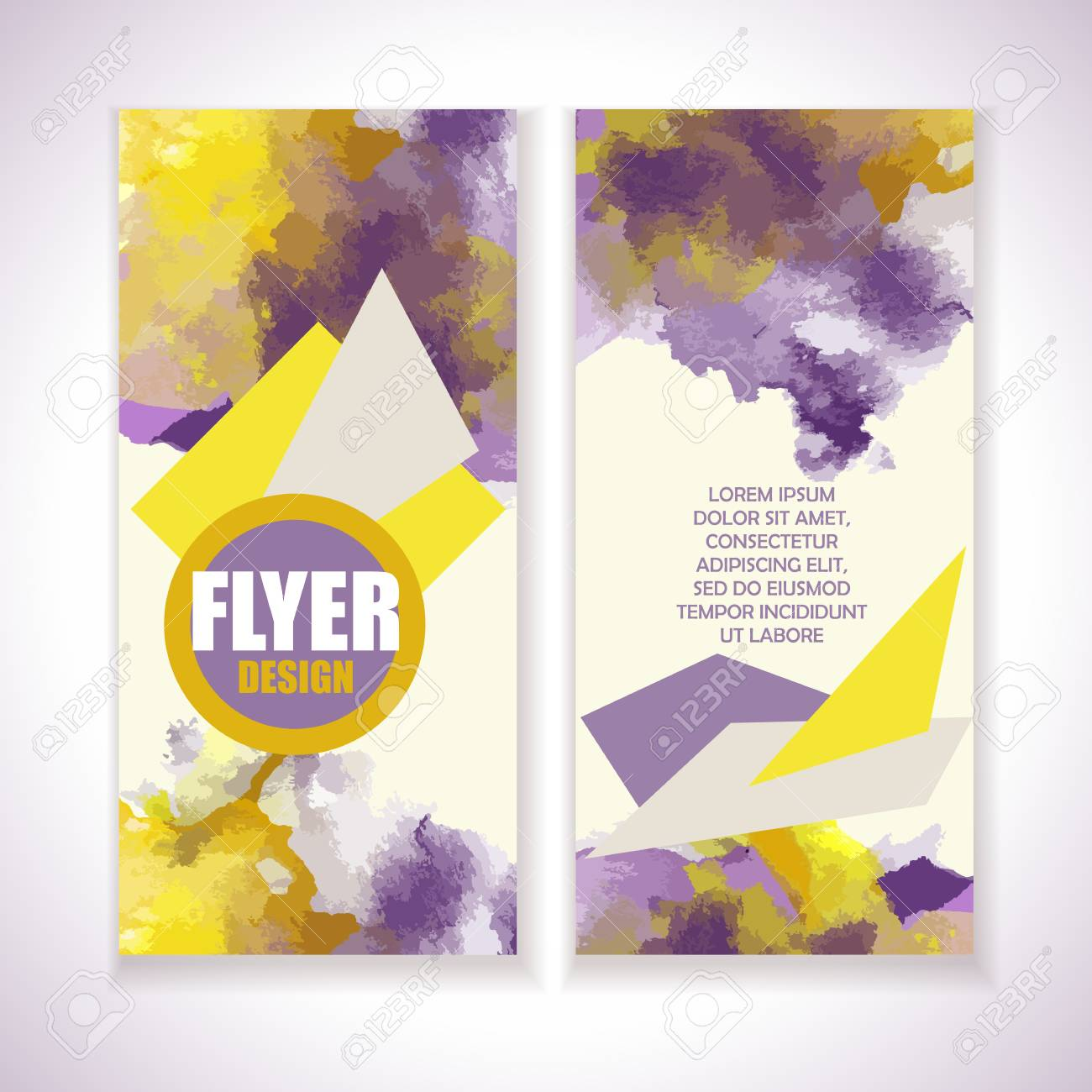 flyer with watercolor grange effect yellow and violet colors
