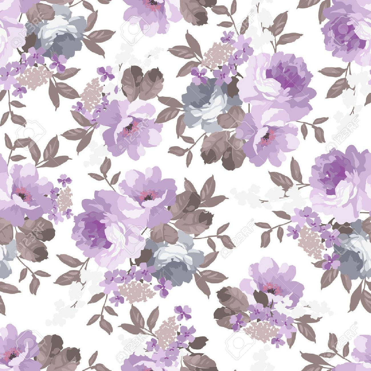 Beautiful Seamless Vintage Floral Pattern With Roses Royalty Free