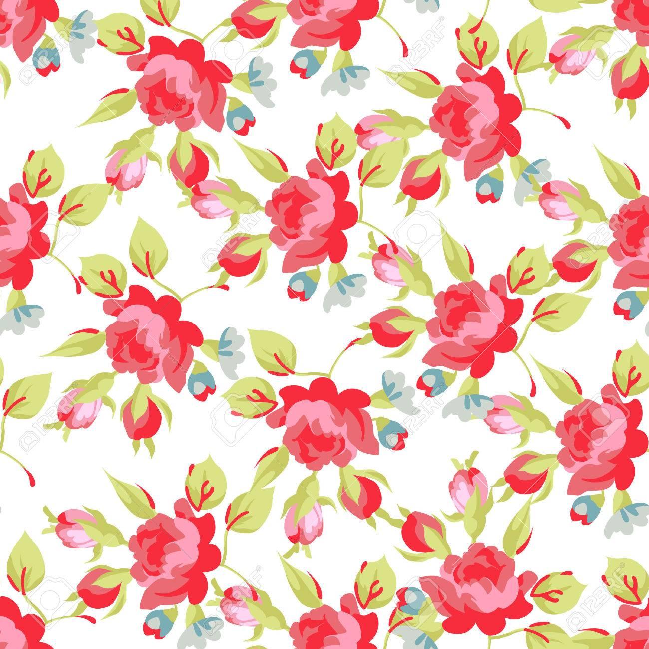 Sin Fisuras Patrón Floral Con Rosas Rojas Y Pequeñas Flores Azules
