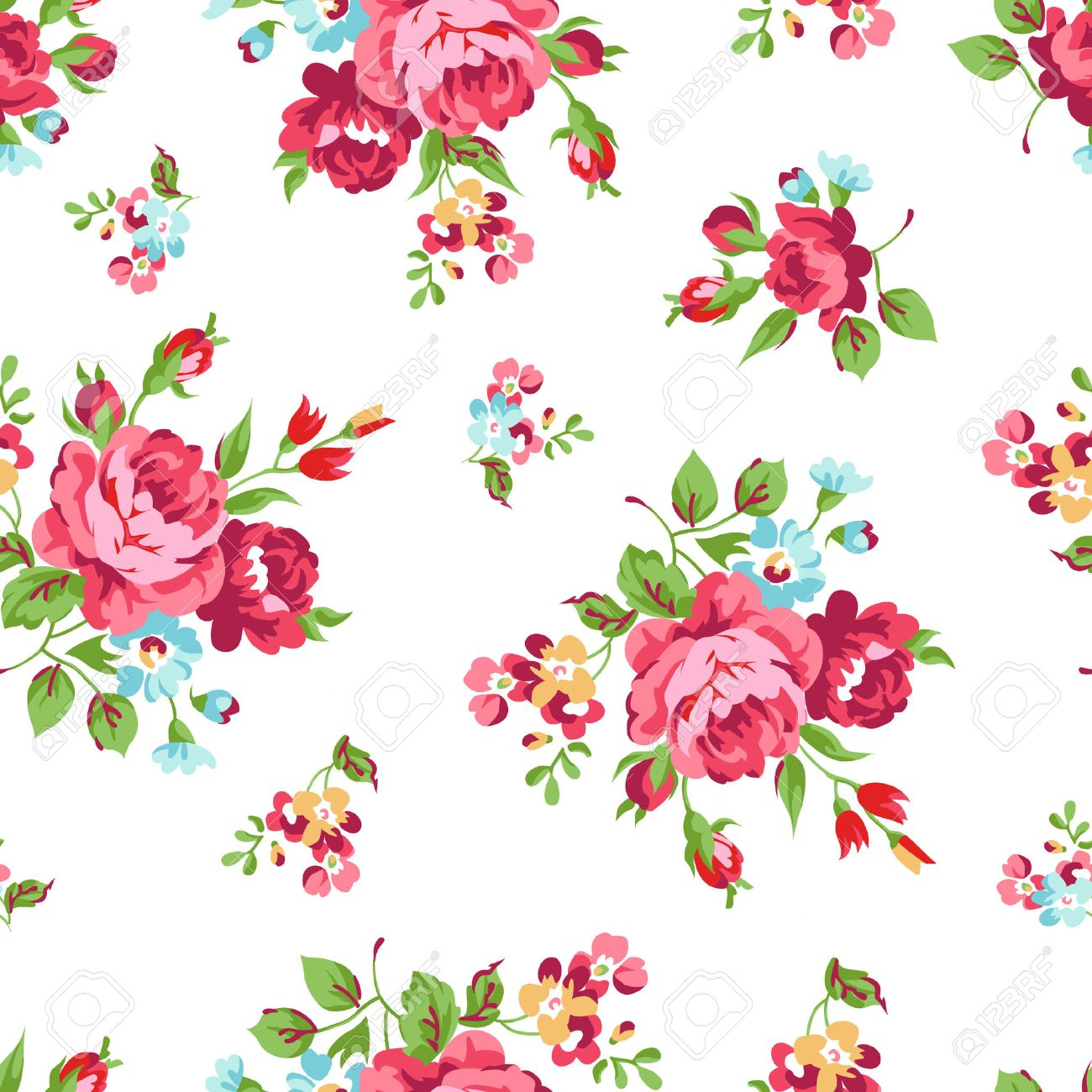 Seamless Floral Pattern With Red Rose Stock Vector 49441669