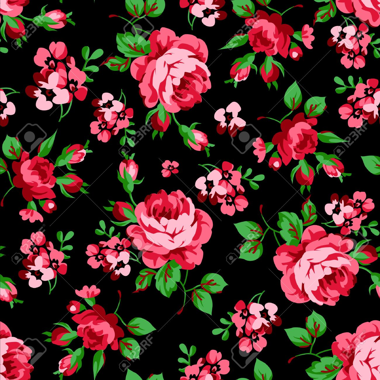 Seamless Floral Pattern With Red Roses On Black Background Royalty