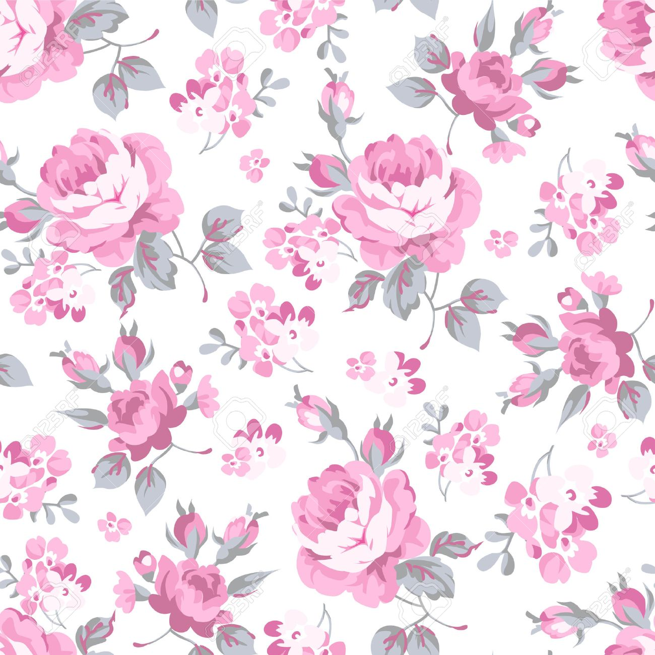 Seamless Floral Pattern With Pink Rose And Grey Leaves Royalty