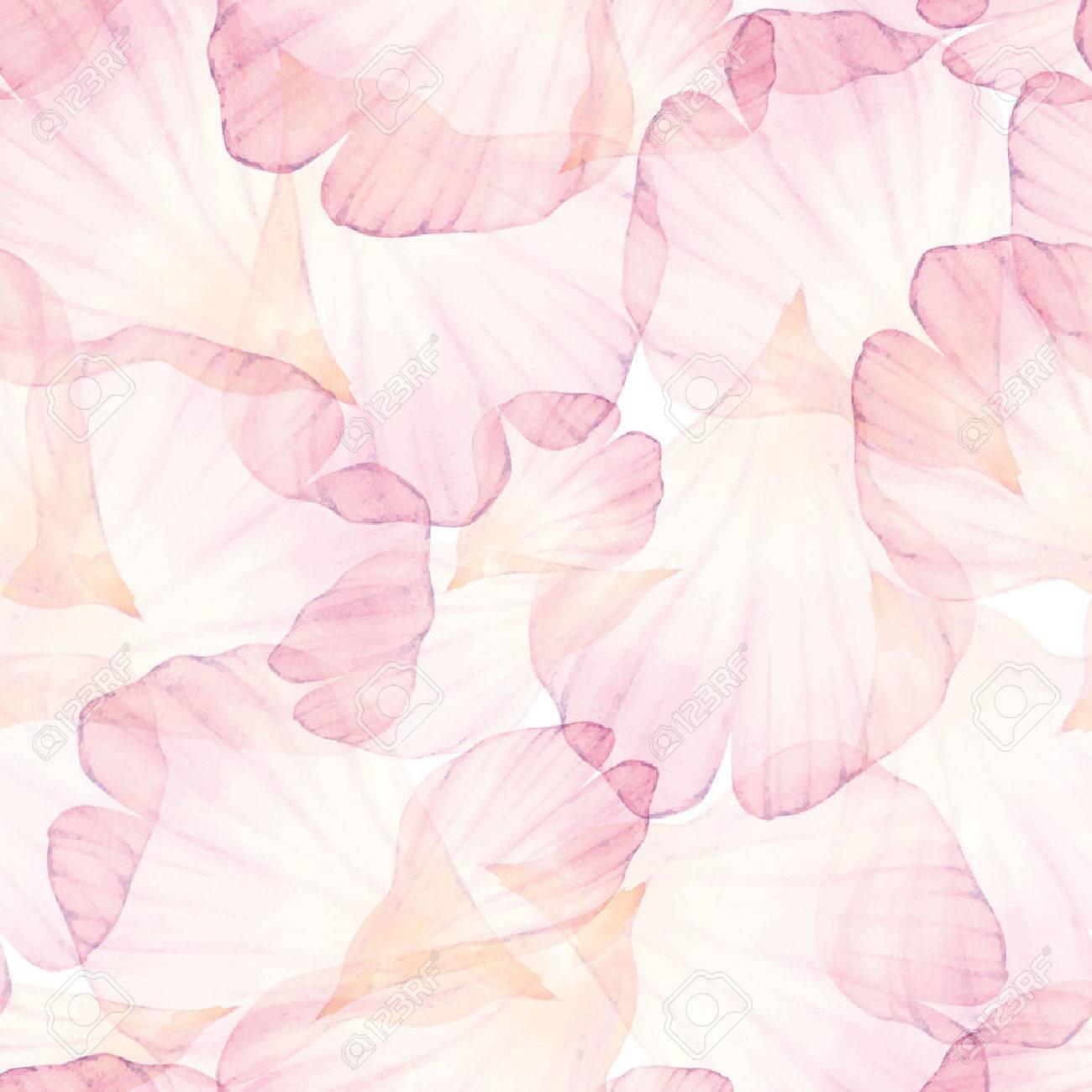 Watercolor Seamless pattern. Pink flower petal. - 49444527