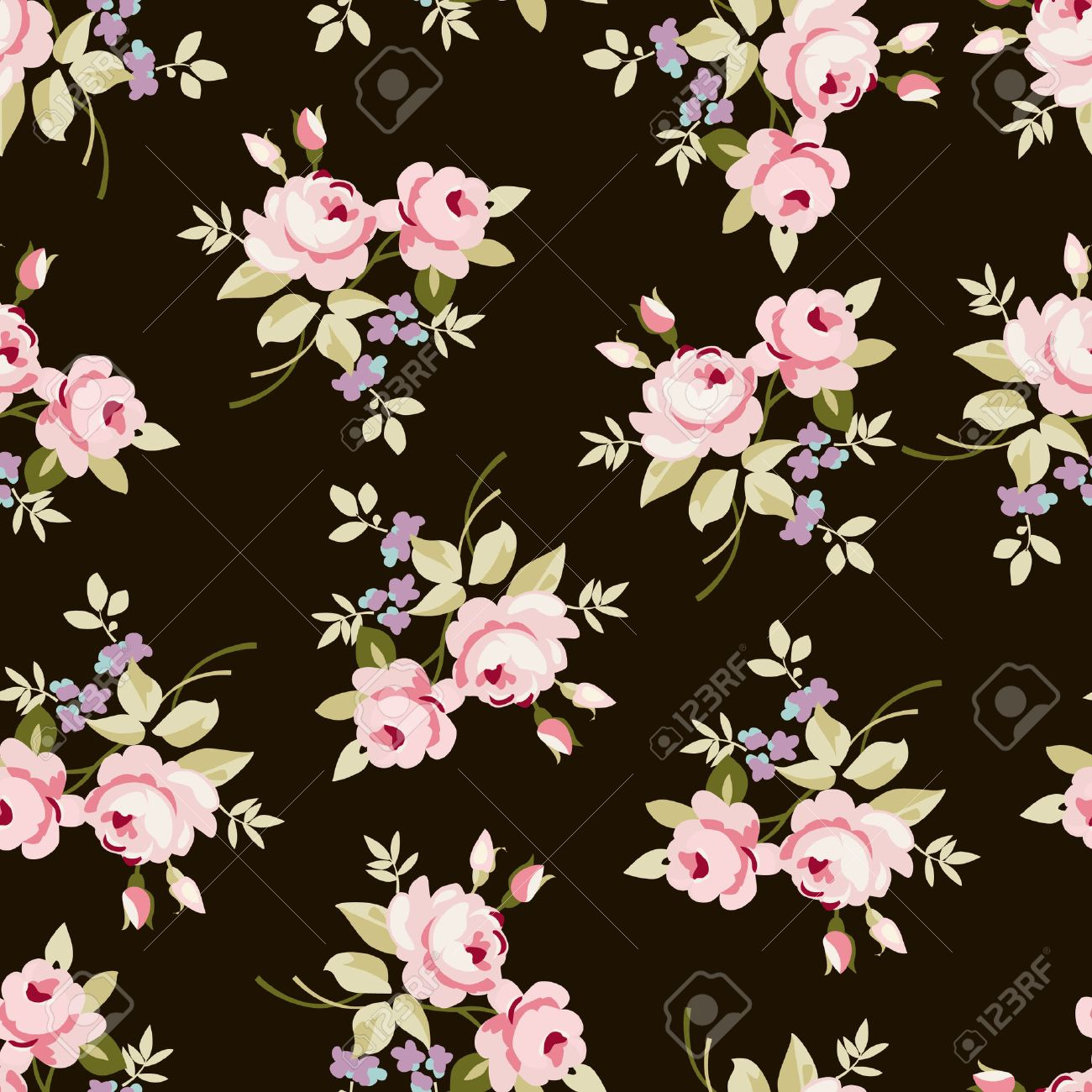 Seamless Floral Pattern With Little Pink Roses On Black