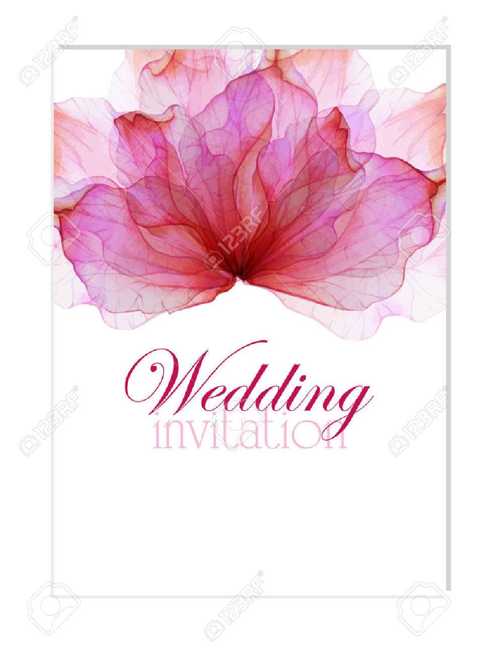 Floral Wedding Invitation With Watercolor Flower Petals Royalty Free ...