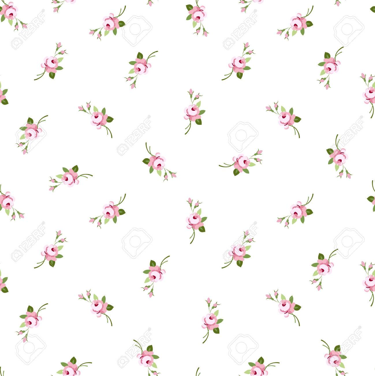 Seamless floral pattern with little flowers pink roses, vector floral illustration in vintage style. - 50617138