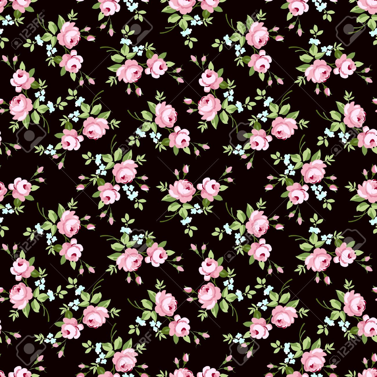 Seamless Floral Pattern With Little Pink Roses On Black Background