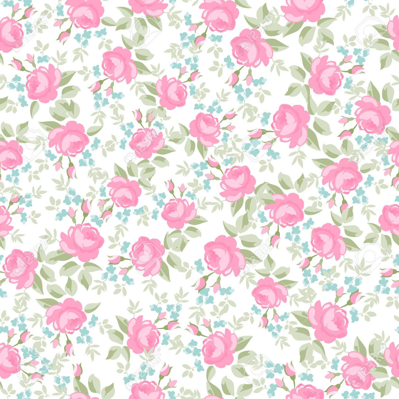 Seamless wallpaper pattern with pastel roses, vector illustration Stock Vector - 50911712