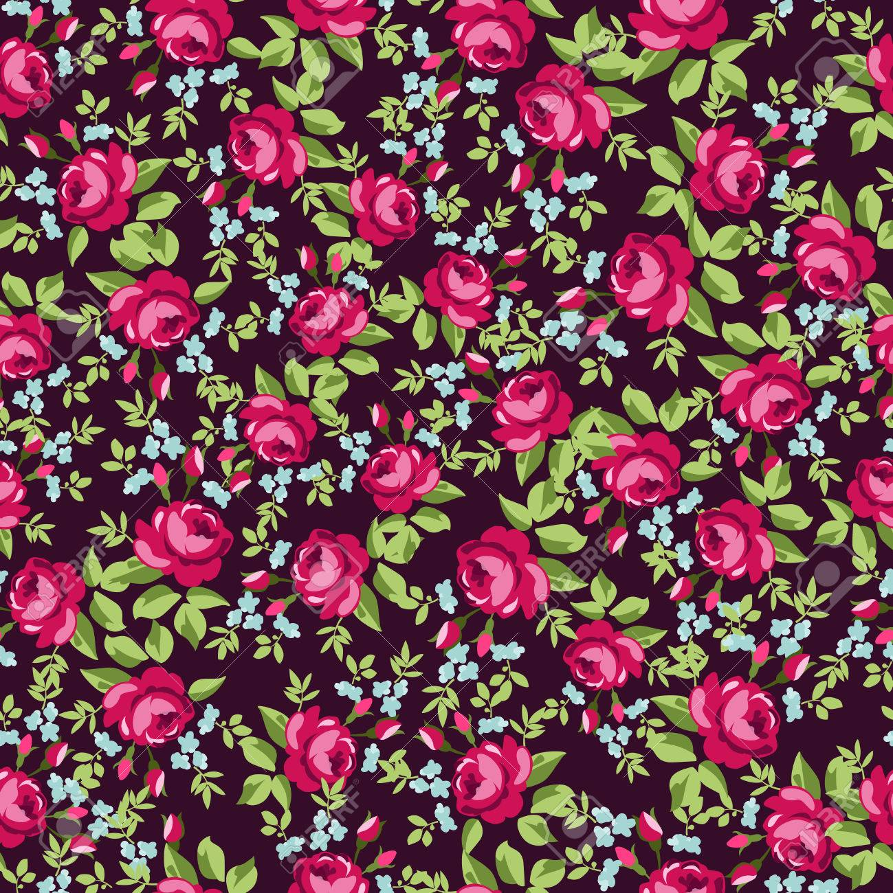 English Rose Seamless Wallpaper Pattern With Redroses Vector