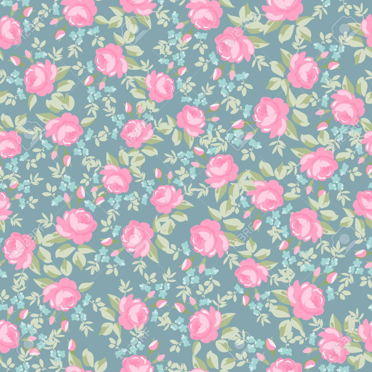 Seamless wallpaper pattern with pastel roses, vector illustration Stock Vector - 50911721