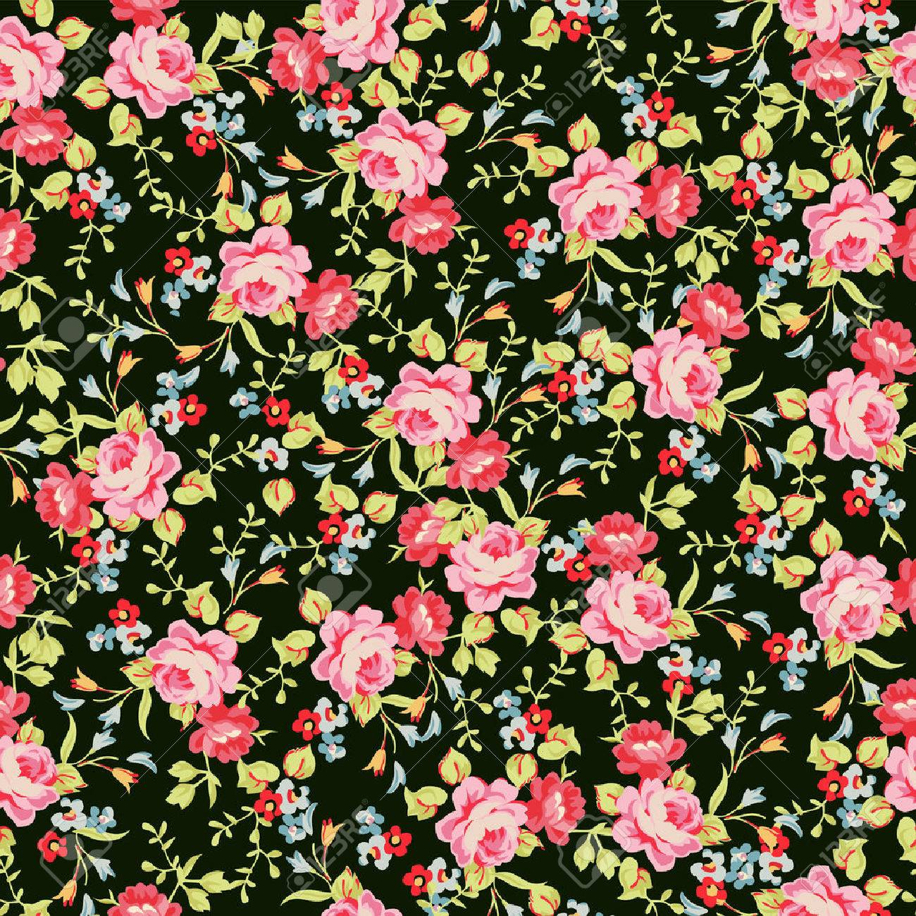 Seamless floral pattern with little pink roses - 60399991