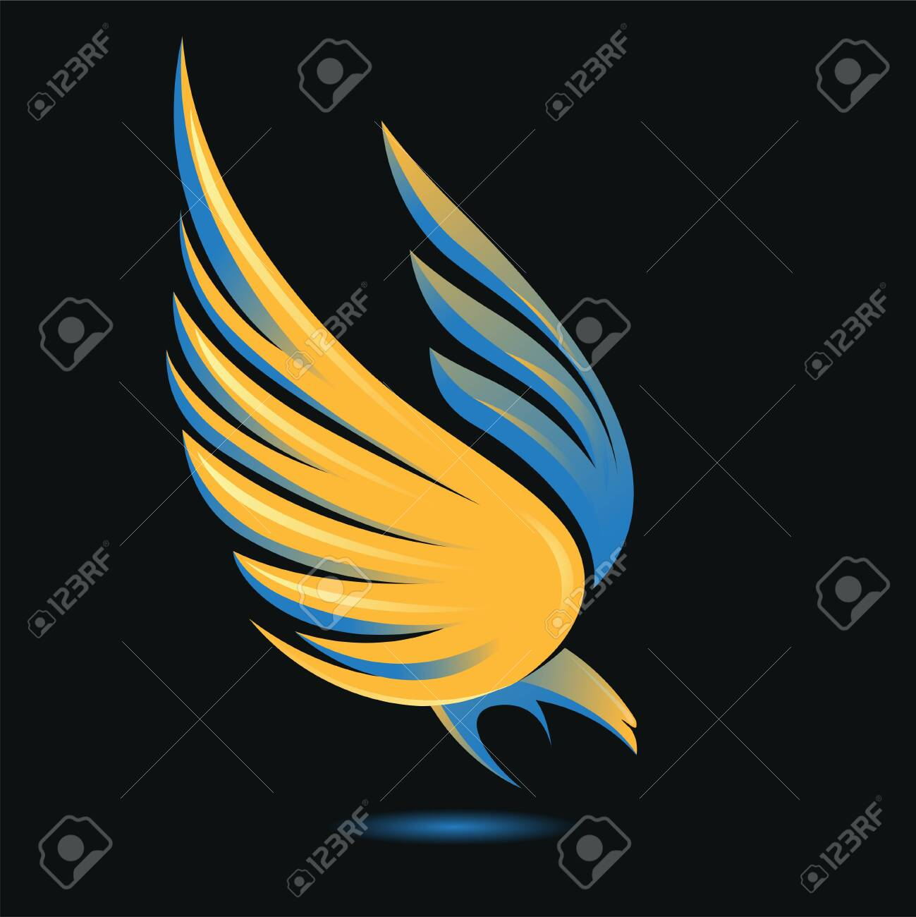 Stylized flying down bird silhouette in golden, blue, yellow and black colors. Attacking hunting Eagle image. Shining Phoenix. Vector illustration. Works well as a tattoo, emblem, print or mascot. - 151278558