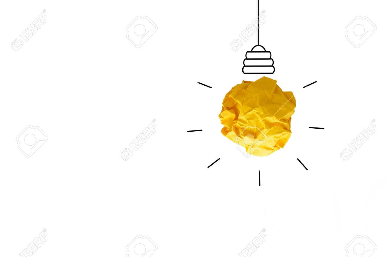 isolate concept crumpled paper light bulb metaphor for good idea