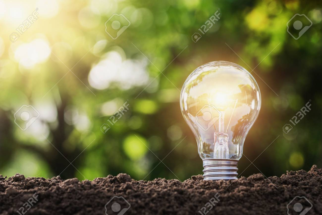 concept saving energy lightbulb with solar power in nature - 96304154
