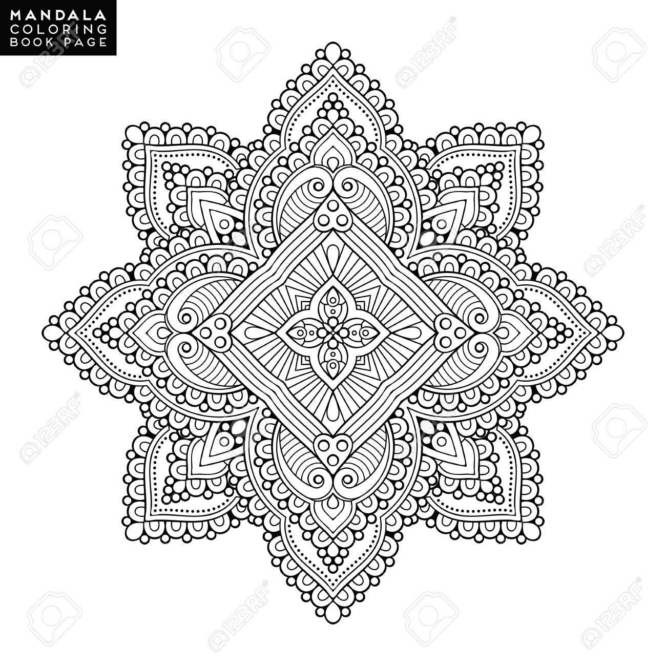 Coloring Book Page Flower Mandala Vintage Decorative Elements Oriental Pattern Vector Illustration Islam Arabic
