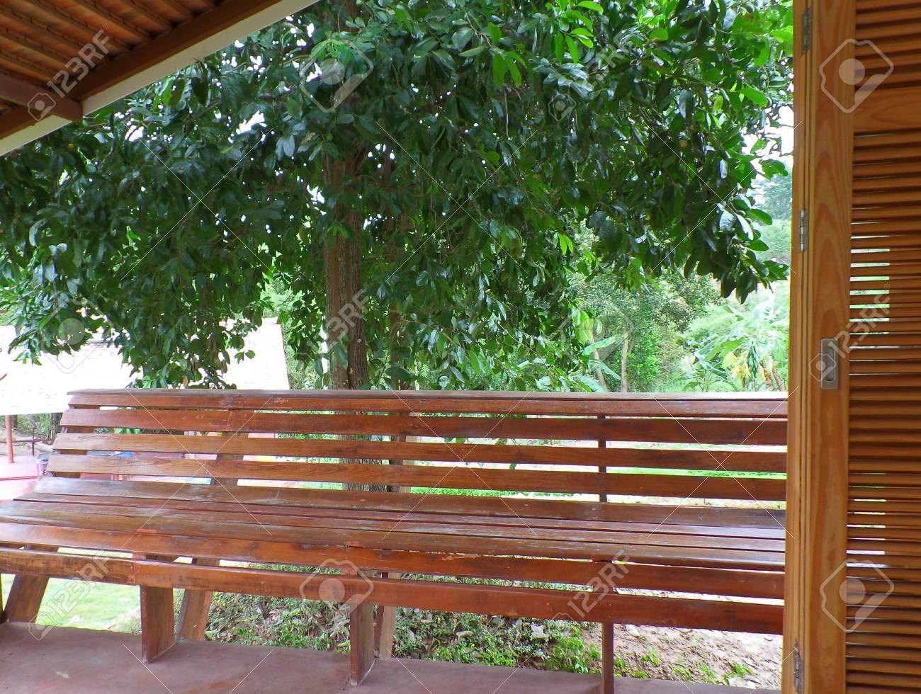 Banco Largo De Madera En La Terraza Delantera Con Un Gran árbol En Segundo Plano