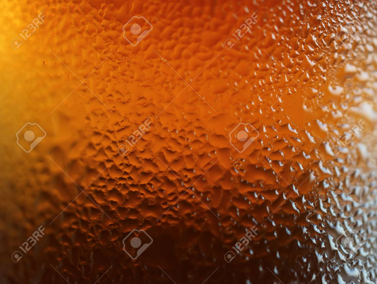 Macro Shot Of Water Drops Texture On The Deep Orange Color Bottle, For  Abstract Background