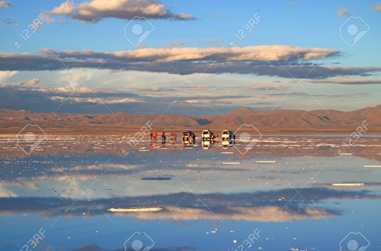 People Enjoy The Activities On The Mirror Effect Of Salar De
