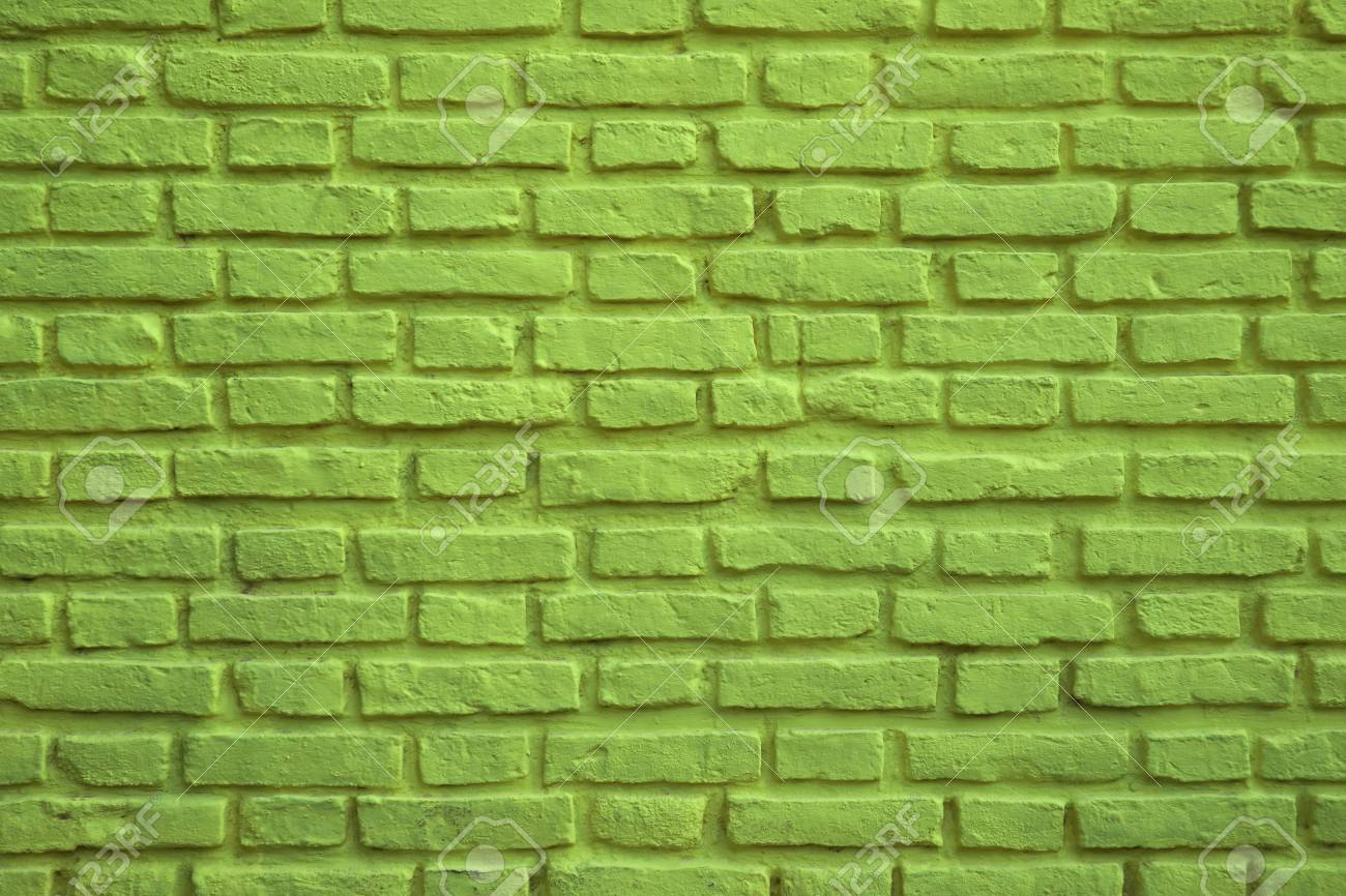 Lime Green Colored Old Brick Wall For Background Banner Or Wallpaper
