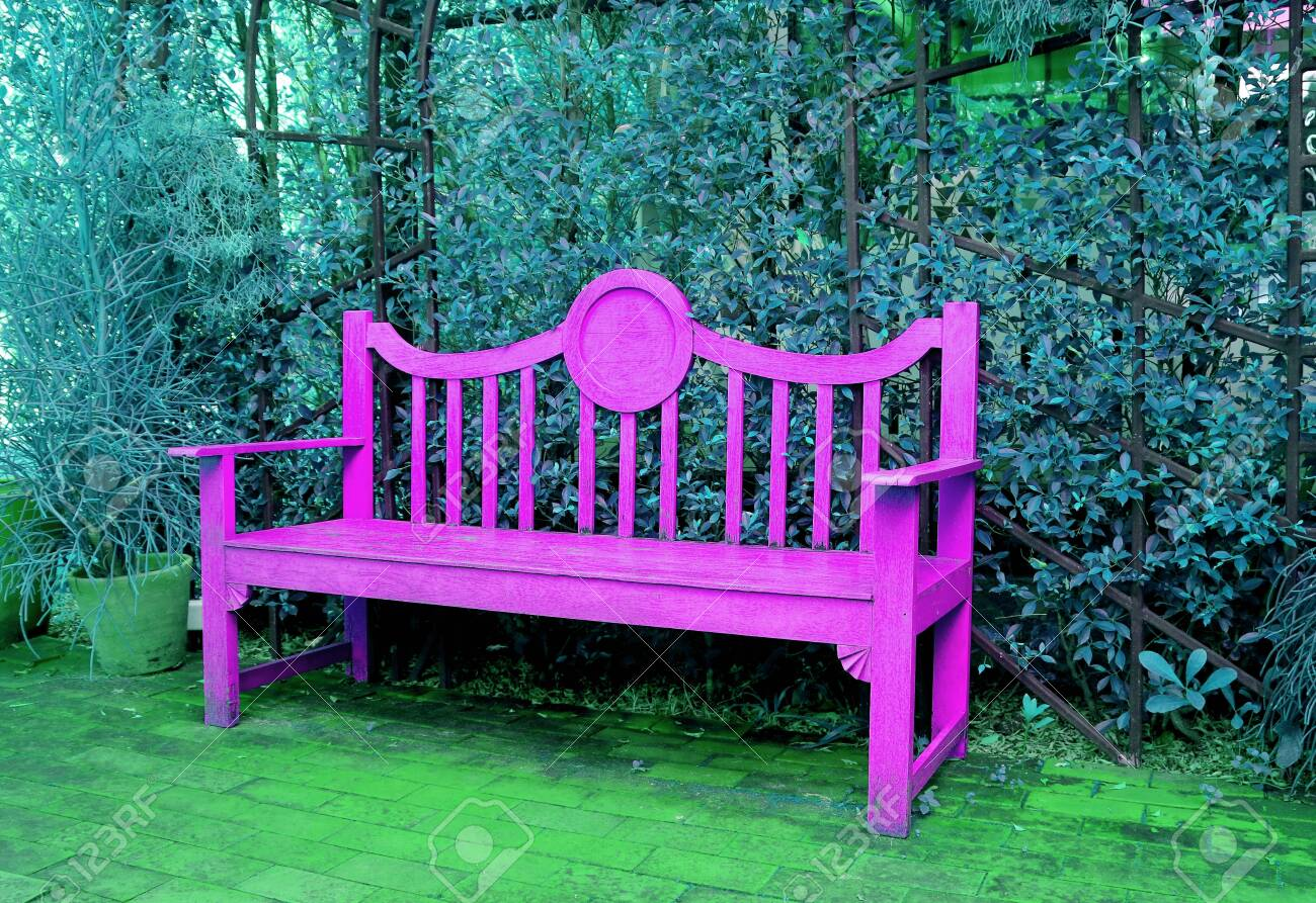 Astonishing Pop Art Style Vivid Pink Wooden Bench In Turquoise Blue Colored Pabps2019 Chair Design Images Pabps2019Com