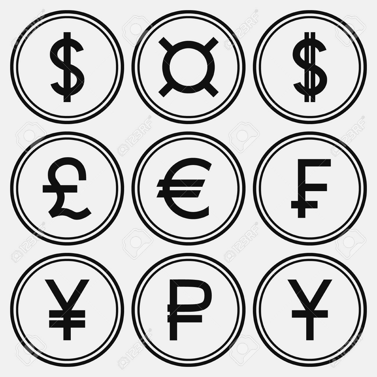 Set of monochrome coin-like icons with different currency symbols