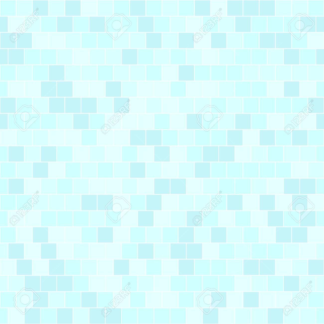 Cyan square pattern. Seamless vector background - blue quadratic bricks on light cyan backdrop - 134498671
