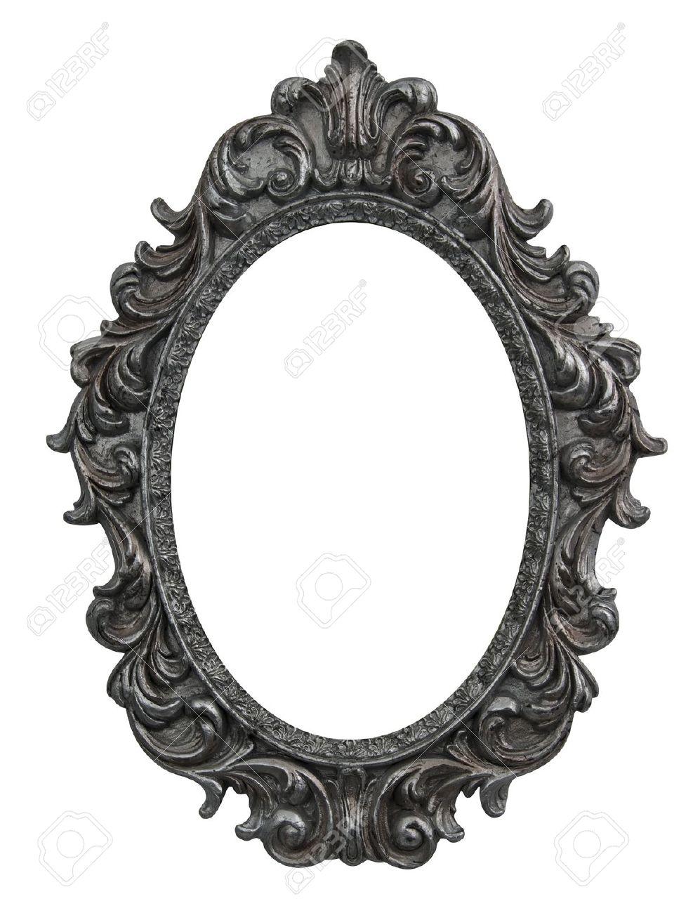 Barock Ovalen Rahmen Mit Silbernen Blättern Lizenzfreie Fotos ...