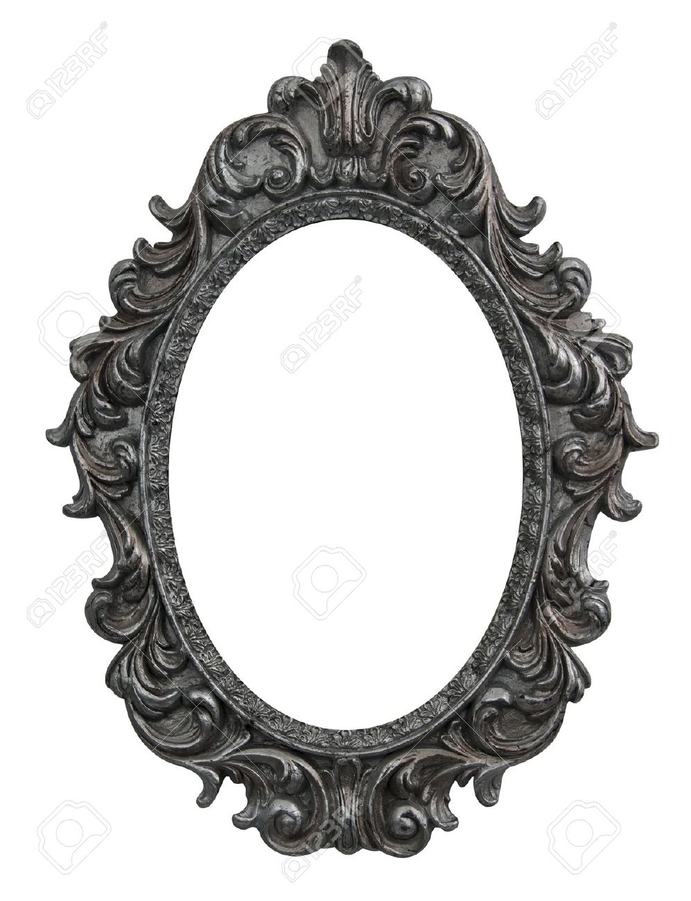 Baroque Oval Frame With Silver Leafs Stock Photo, Picture And ...