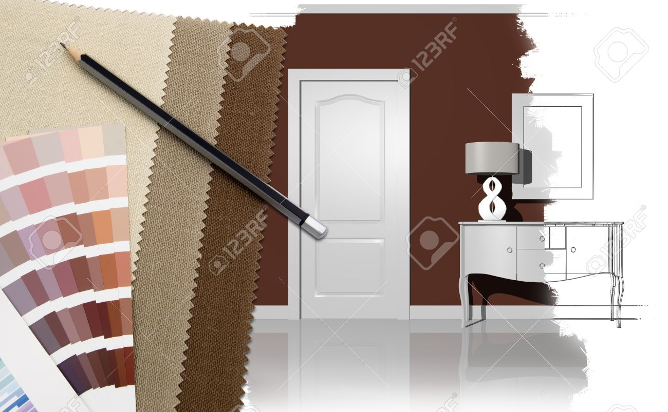interior design with illustration and decoration materials stock