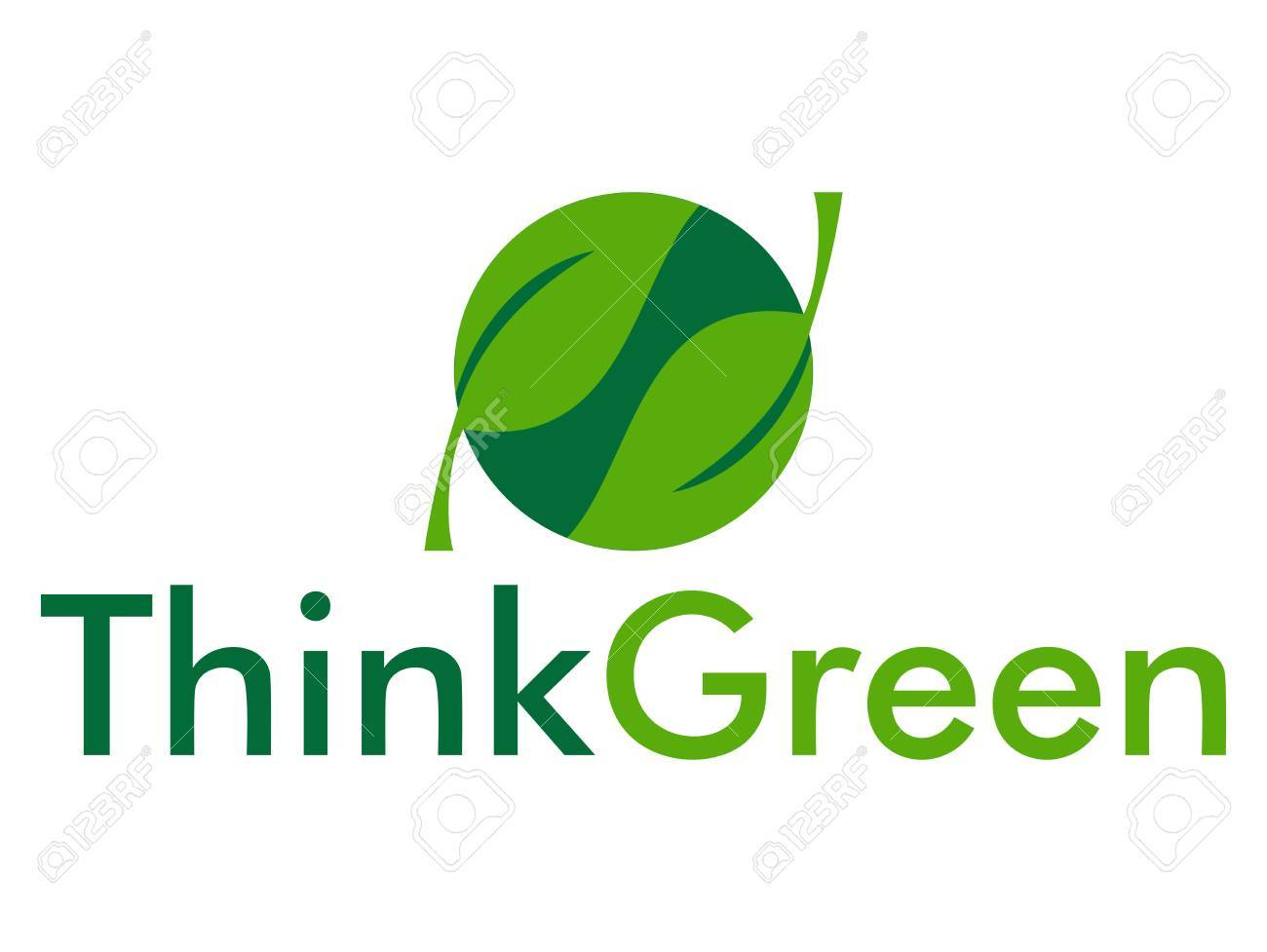 Think green with leaves in circle Stock Vector - 20279079