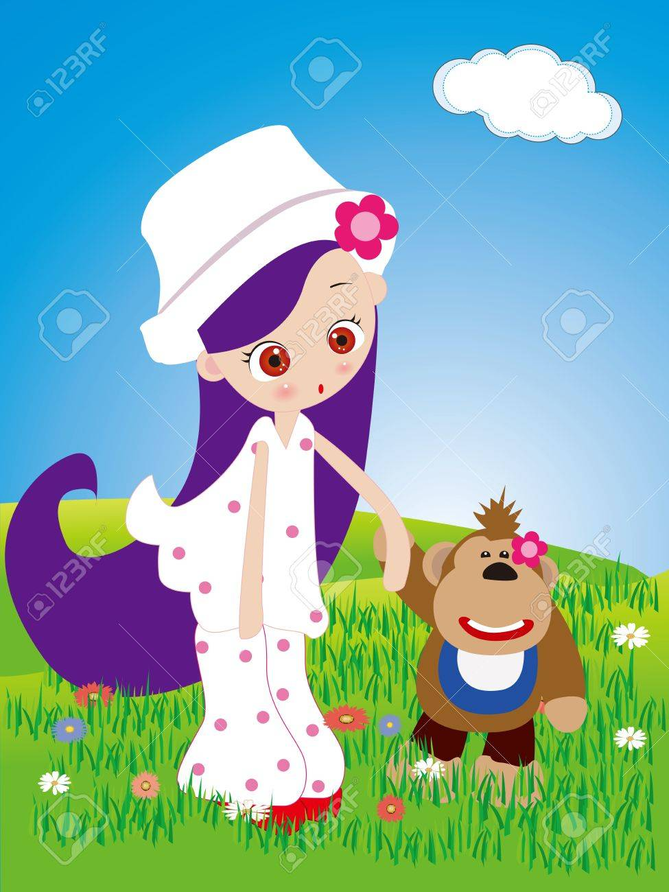 Little girl and monkey walk in the park Stock Vector - 15754582