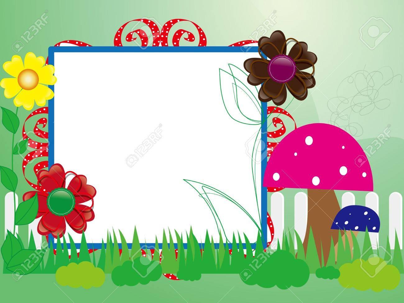 Baby Scrapbook 10 Für Den Zaun, Blumen Und Pilzen Lizenzfrei ...