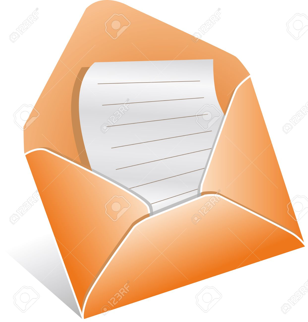 illutration of open envelope with letter, vector royalty free