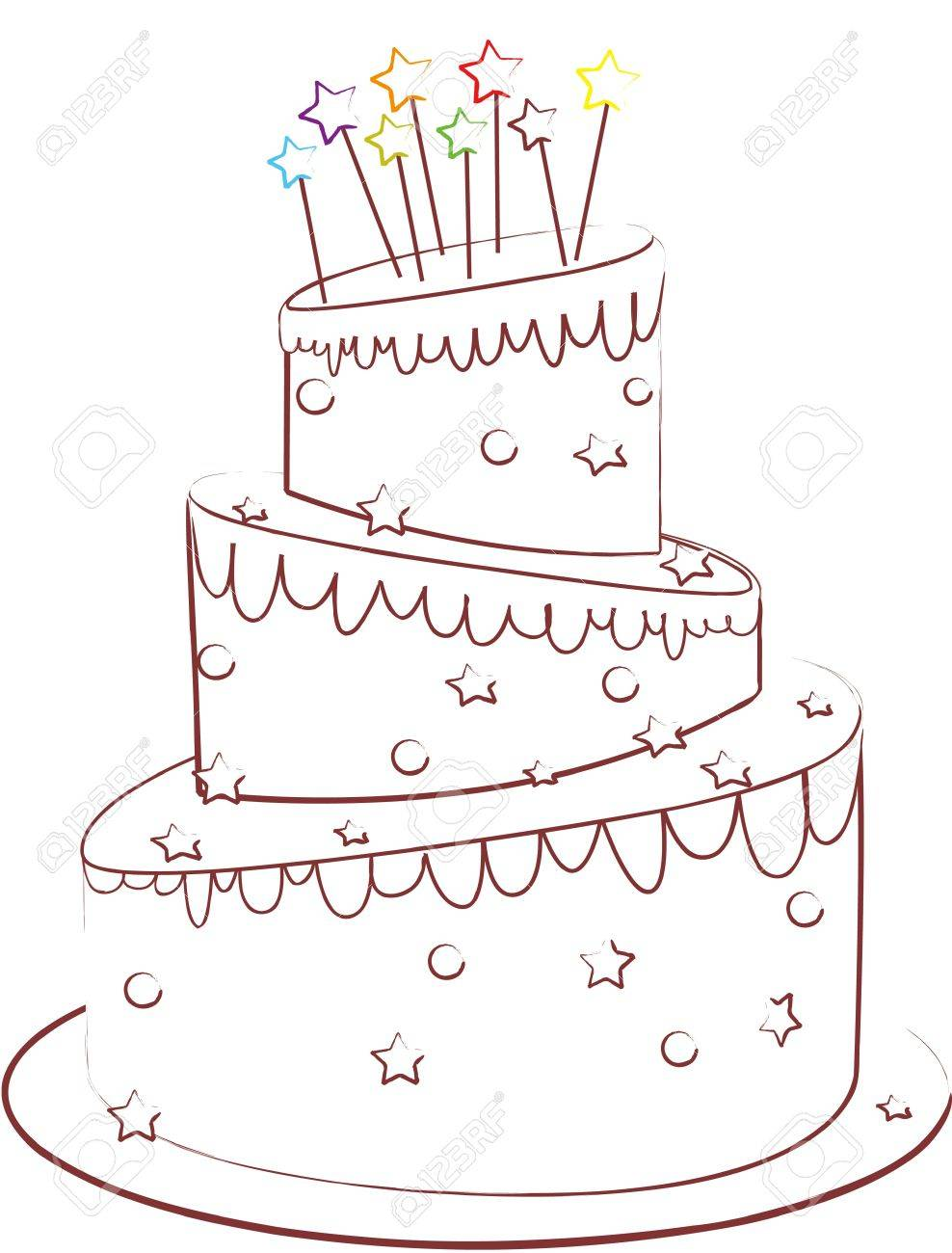birthday cake isolated on white Stock Vector - 16136865