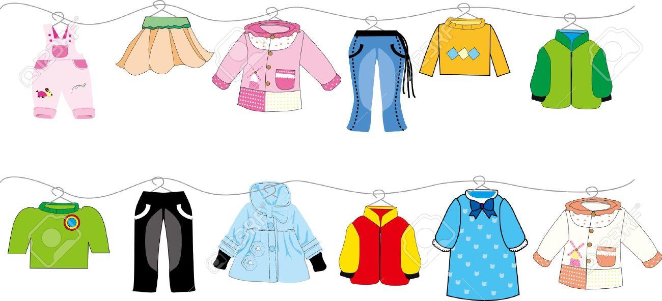 Kinderkleidung auf wäscheleine  Baby-Kleidung Auf Wäscheleine Lizenzfrei Nutzbare Vektorgrafiken ...