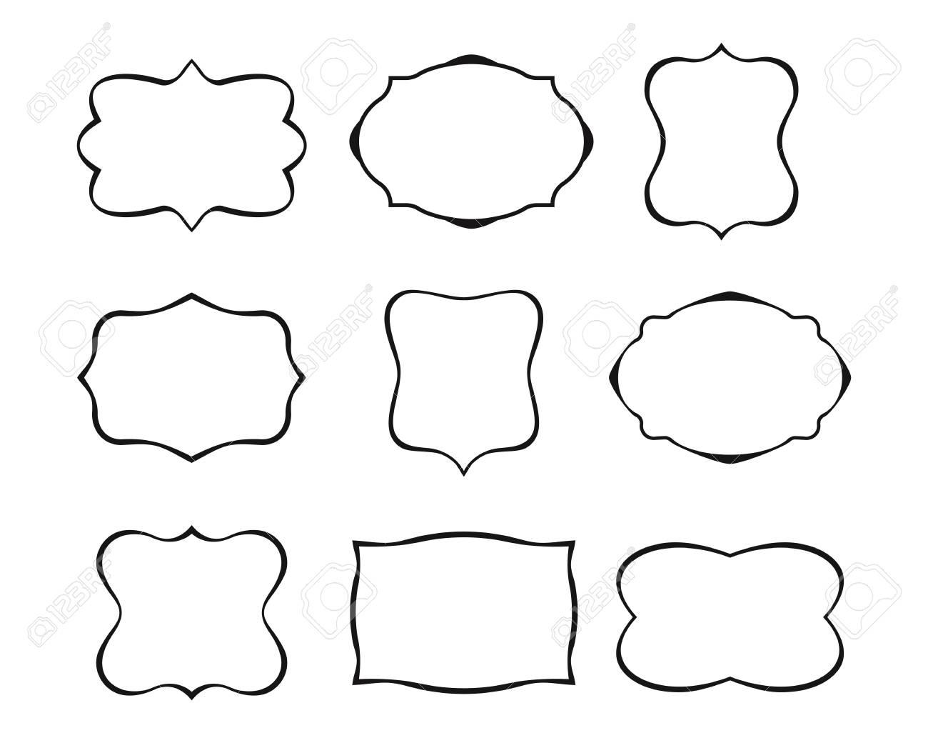 Conjunto De Cuadros Simples. Colección De Formas De Etiqueta. Marcos ...