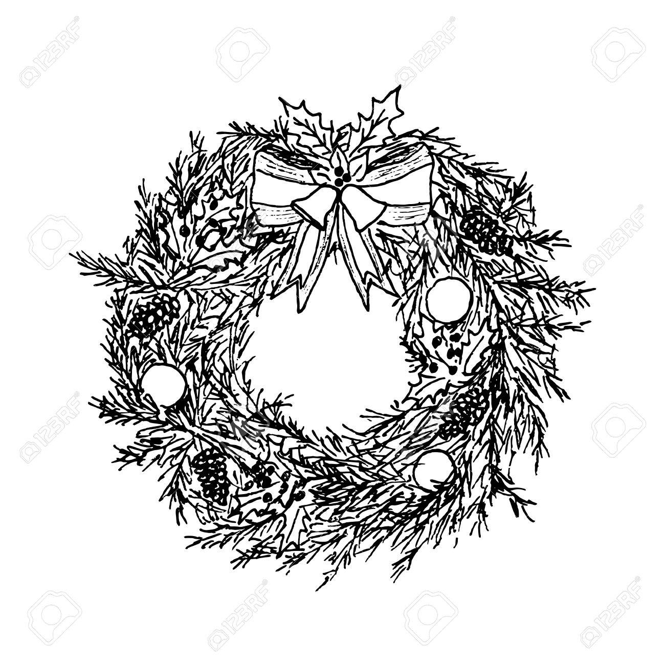 Drawings Of Christmas Wreaths.Hand Drawn Christmas Wreath Sketch Vector Illustration