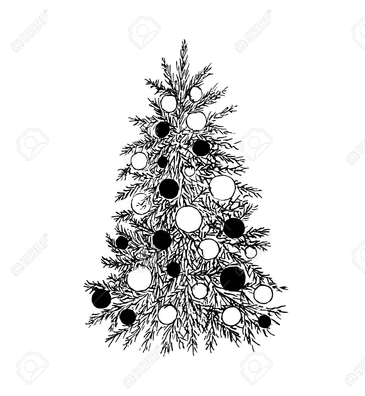 Hand Drawn Evergreen Tree With Decorations Sketch Spruce Fir Fur Pine