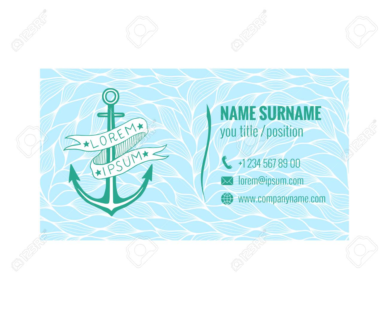 Business Card Template For Yacht Club, Sea Transport Or Travel ...