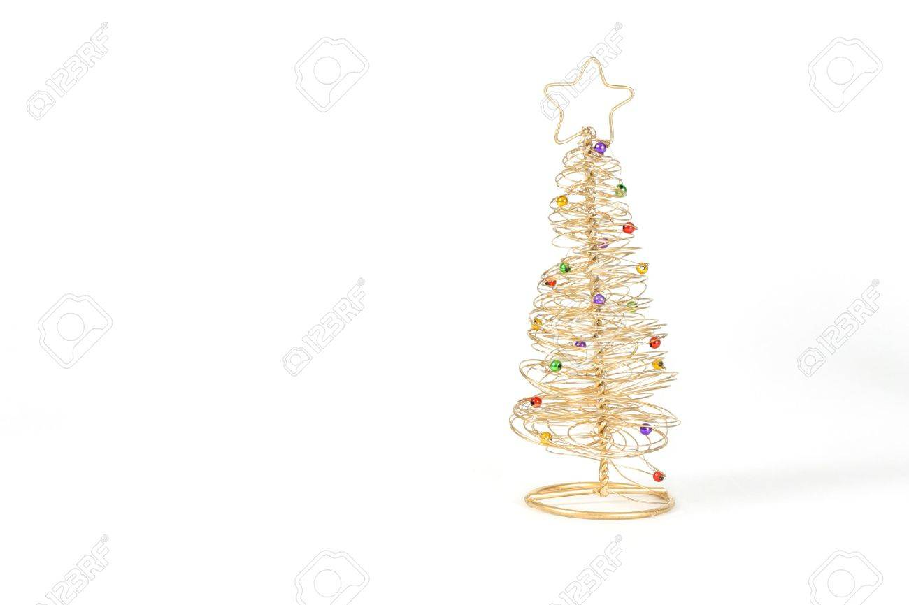 Exceptional Gold Wired Christmas Tree On White Background. Stock Photo   280377