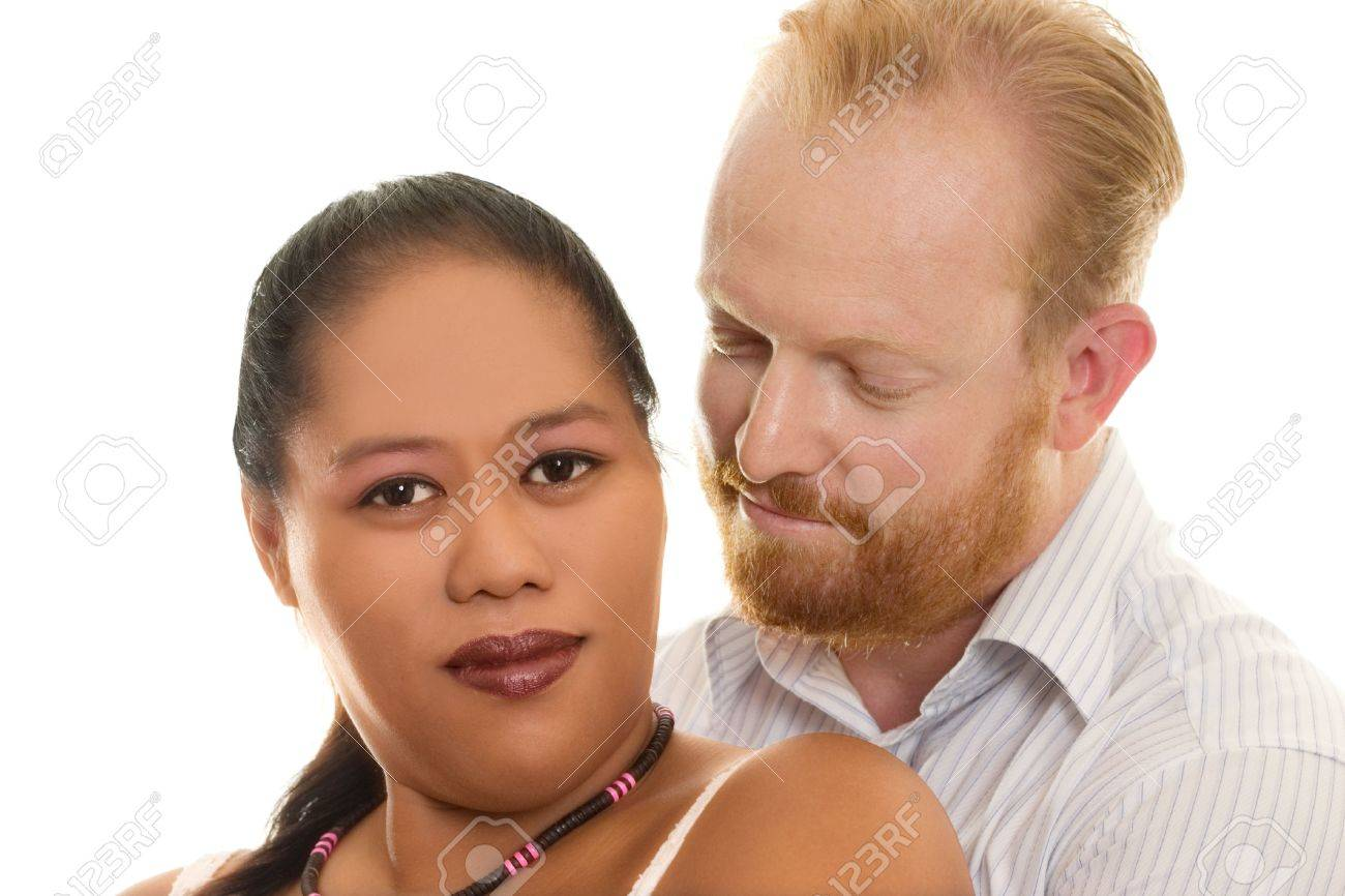Loving multicultural diversity couple embrace Stock Photo - 328095