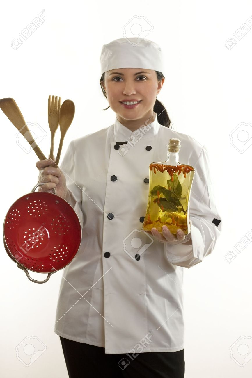 Kitchenhand Or Chef Holding Utensils Stock Photo, Picture And ...