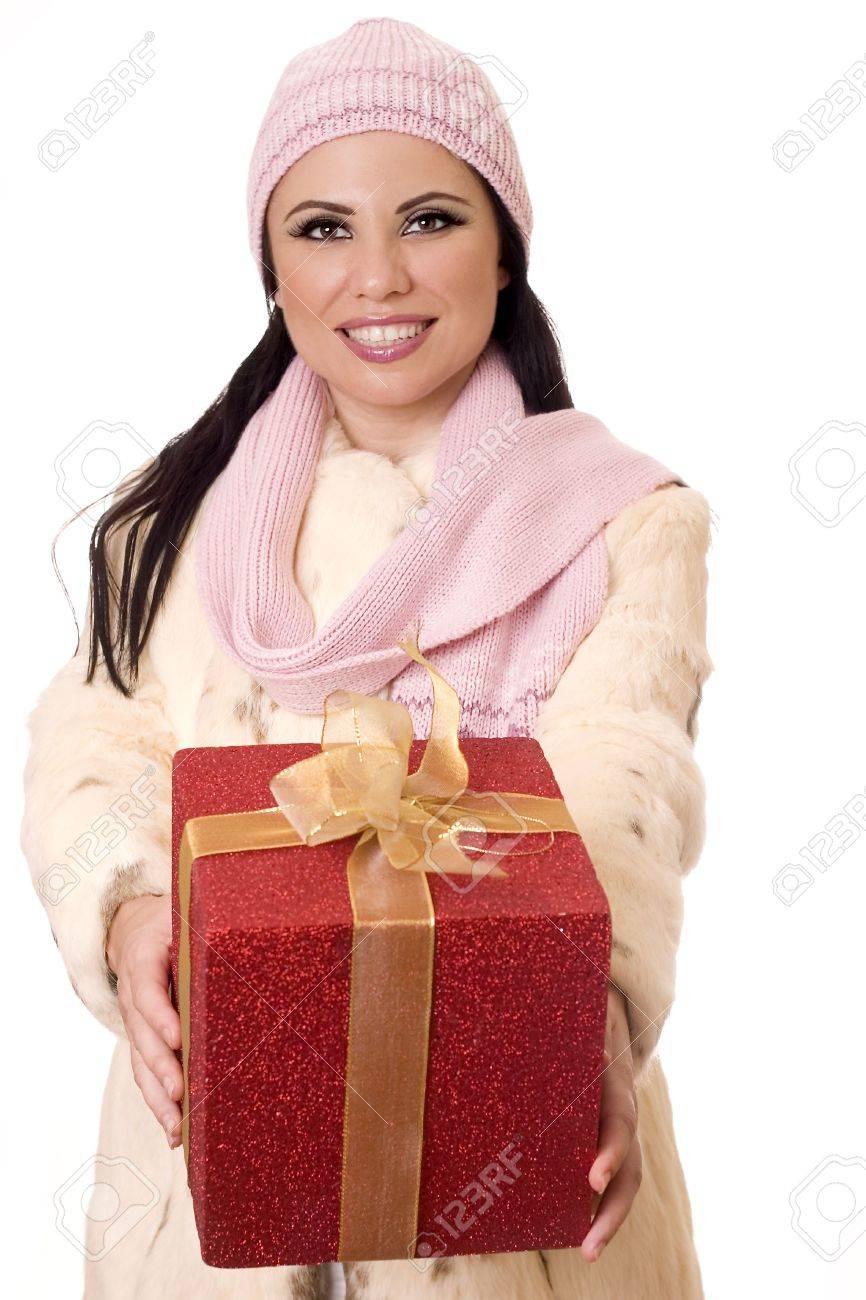 Smiling female holding a large birthday gift, velentine or Christmas present Stock Photo - 454429