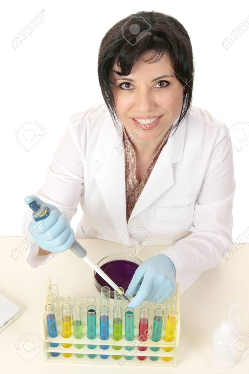 A female scientist using laboratory equipment for research testing or experiments Stock Photo - 3877791