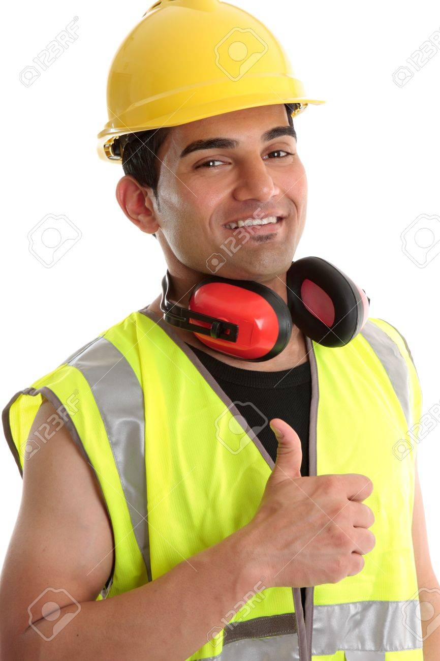 Smiling builder, construction worker or other trades man showing a  thumbs up sign. White background. Stock Photo - 7315798