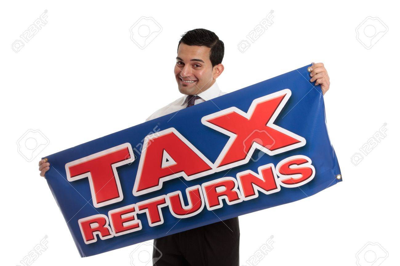 An accountant, tax agent, tax auditor or businessman holding a sign.  White background. Stock Photo - 7342726