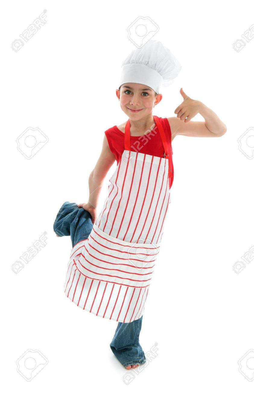 A Young Child Chef Wearing A Red And White Striped Apron And Stock