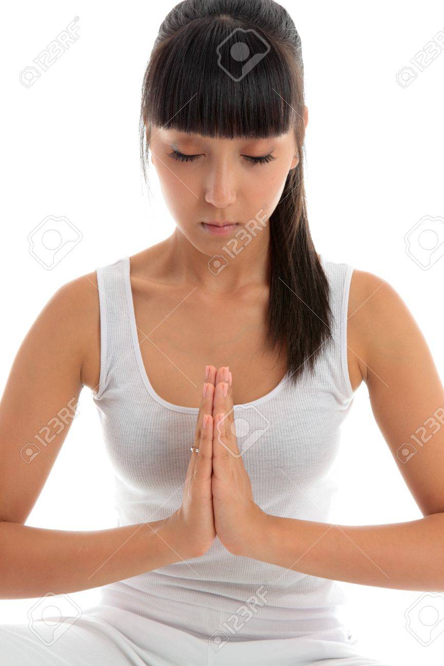 Young beautiful woman in quiet meditation yoga prayer Stock Photo - 9814518