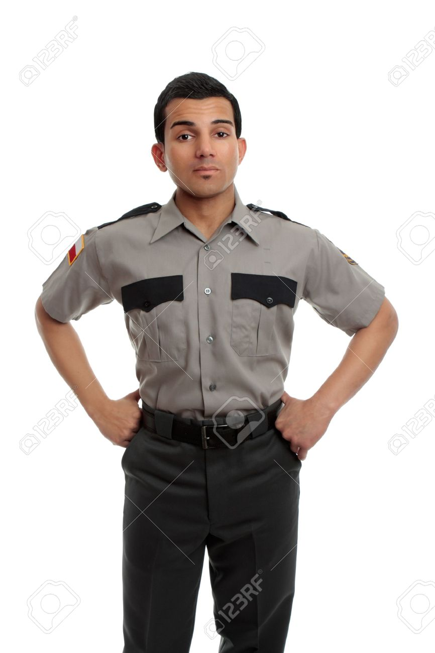 Prison guard, warden, or cop standing firm with hands on hip Stock Photo - 10396464